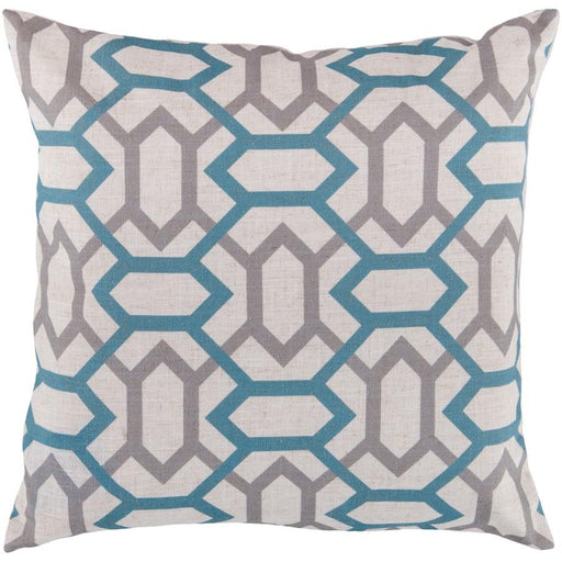 Zoe by Surya Pillow, Cream/Teal/Medium Gray