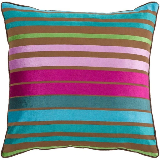 Velvet Stripe by Surya Pillow, Teal/Fuchsia/Aqua