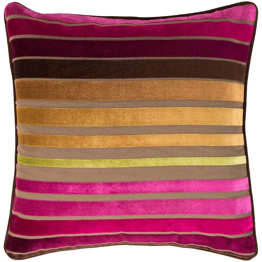 Velvet Stripe by Surya Pillow, Fuchsia/Tan/Camel