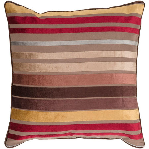 Velvet Stripe by Surya Pillow, Camel/Tan/Dark Red