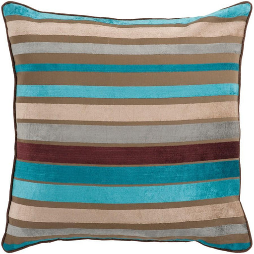 Velvet Stripe by Surya Pillow, Camel/Aqua/Light Gray