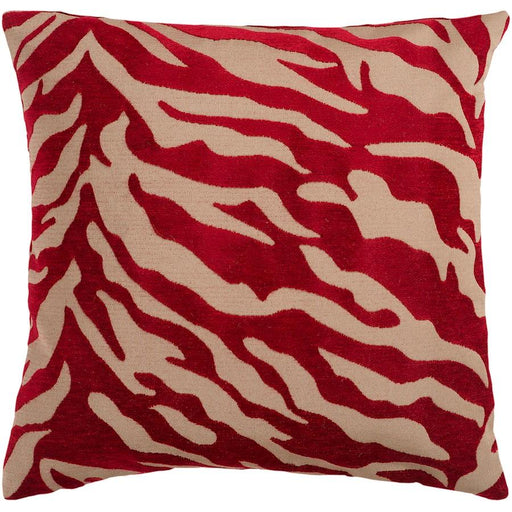Velvet Zebra by Surya Down Fill Pillow, Tan/Burgundy