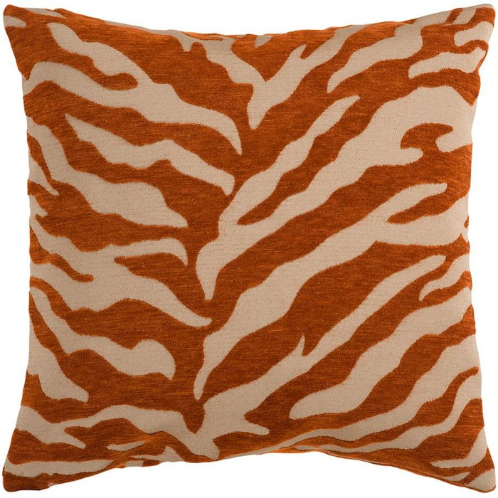 Velvet Zebra by Surya Pillow, Tan/Orange