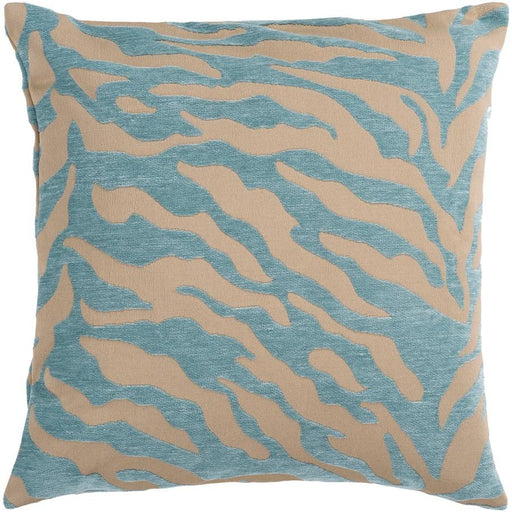 Velvet Zebra by Surya Down Fill Pillow, Tan/Teal