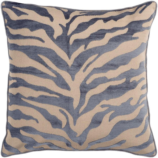 Velvet Zebra by Surya Down Fill Pillow, Tan/Charcoal
