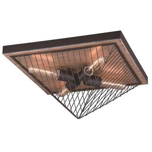 Vaxcel Dearborn Flush Mount, Black Iron with Burnished Oak