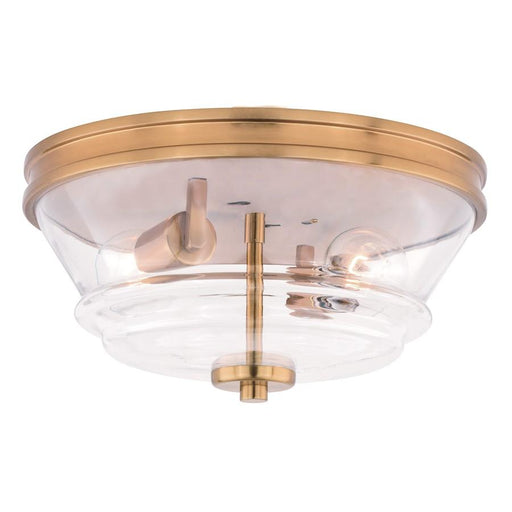 "Vaxcel Toledo 13"" Flush Mount, Natural Brass"