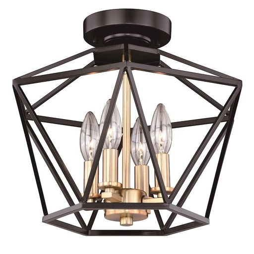 Vaxcel Turin Semi-Flush Mount, Noble Bronze/Natural Brass