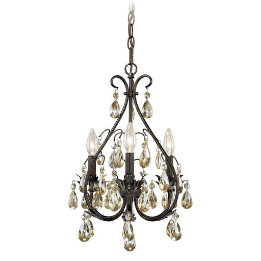 Vaxcel Alicia 3 Light Mini Chandelier, Gold Flake Bronze