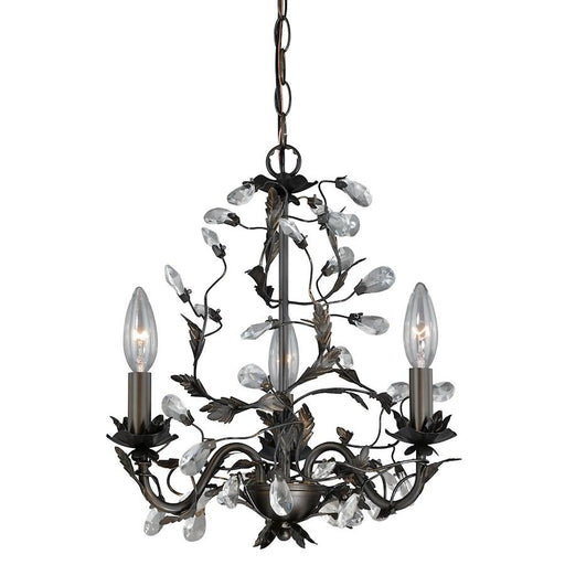 Vaxcel Trellis 3 Light Mini Chandelier, Architectural Bronze