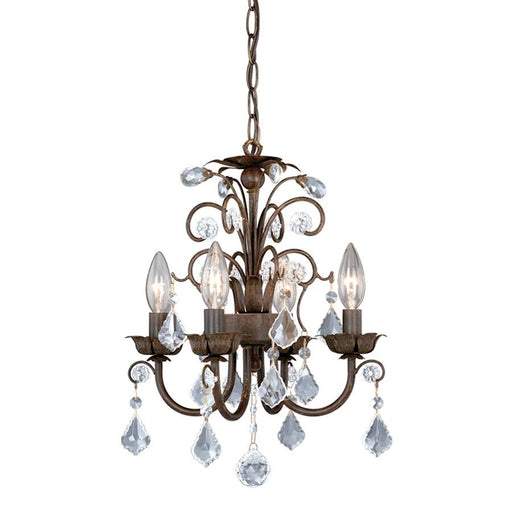Vaxcel Mini Chandelier, Aged Walnut w/Crystal Drops