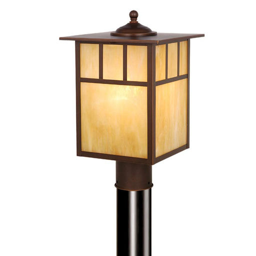 Vaxcel Mission 1 Light Outdoor Post, Bronze/Honey Opal Glass