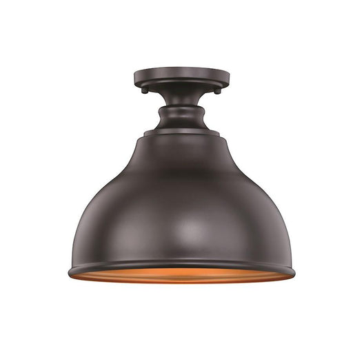 "Vaxcel Delano 11"" Semi-Flush Mount, Oil Burnished Bronze/Light Gold"
