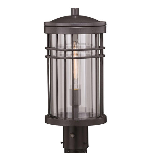"Vaxcel Wrightwood 8"" Outdoor Post Light, Vintage Black"