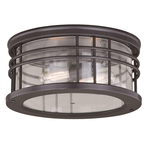 "Vaxcel Wrightwood 12"" Outdoor Flush Mount, Vintage Black"