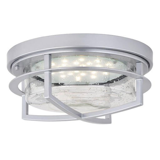 "Vaxcel Logan 1 Light 13"" Outdoor LED Flush Mount, Painted Satin Nickel"