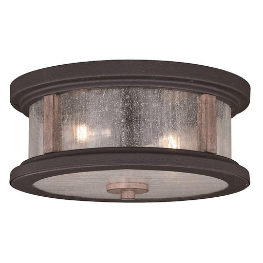 "Vaxcel Cumberland 2 Light 13"" Outdoor Flush Mount, Bronze/Burnished Oak"