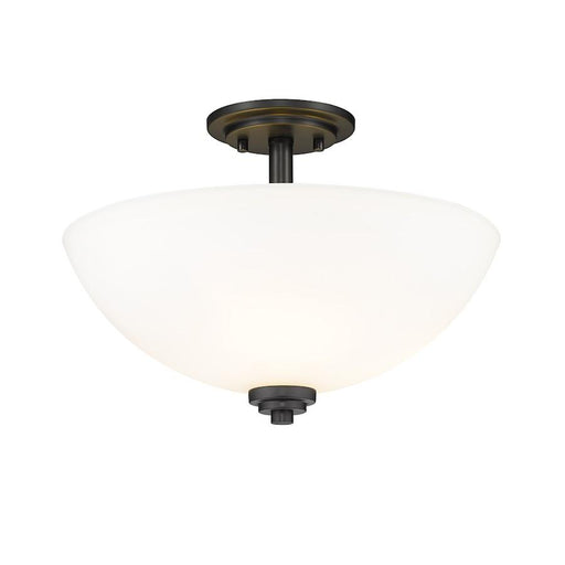 Z-Lite Ashton 3 Light Semi Flush Mount, Matte Black