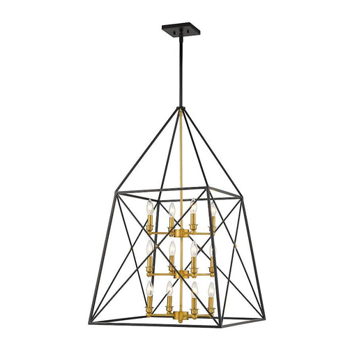 "Z-Lite Trestle 12 Light 24"" Chandelier, Matte Black/Olde Brass"
