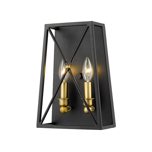 Z-Lite Trestle 2 Light Wall Sconce, Matte Black/Olde Brass