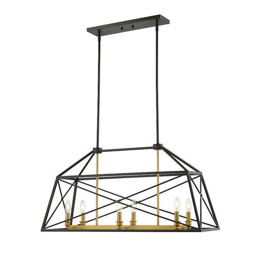 Z-Lite Trestle Small Chandelier, Matte Black/Olde Brass