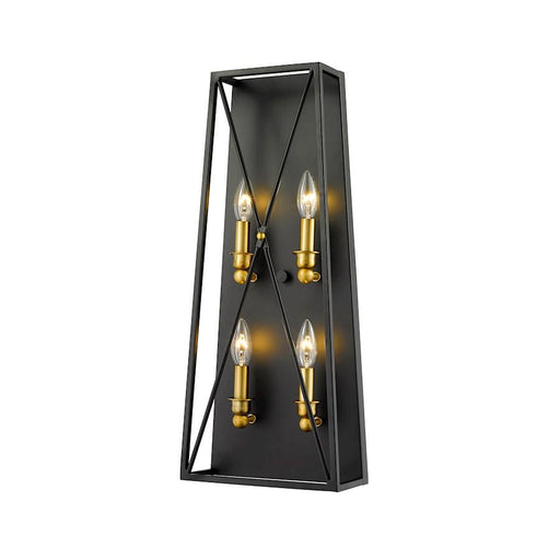 Z-Lite Trestle 4 Light Wall Sconce, Matte Black/Olde Brass
