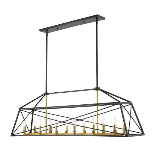 Z-Lite Trestle Large Chandelier, Matte Black/Olde Brass