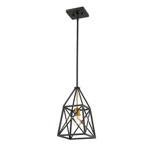 Z-Lite Trestle 1 Light Mini Pendant, Matte Black/Olde Brass
