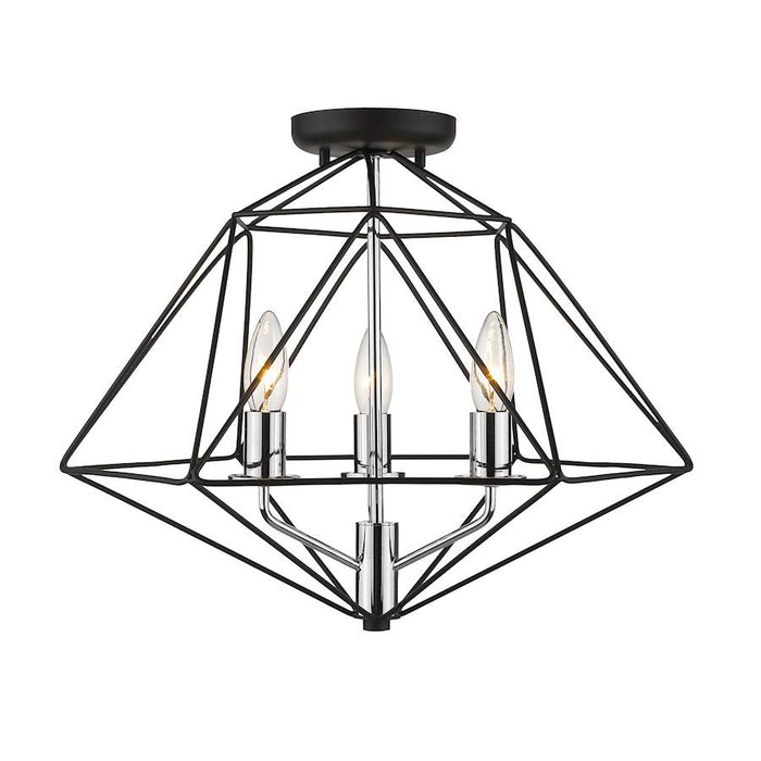 Z-Lite Geo 3 Light Semi Flush Mount, Matte Black/Chrome