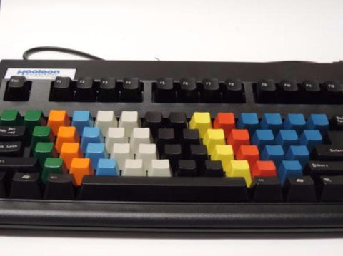 Black Typing Keyboard with Color-coded Blank Keys