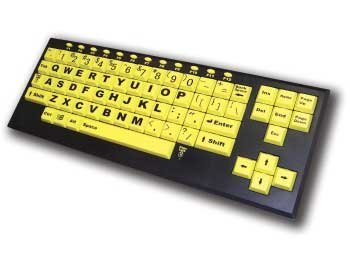 Large Keys Keyboard - VisionBoard2 Yellow Keys with Black Print