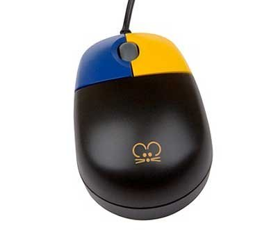 TinyMouse Optical Mouse - Black with Color-coded Buttons