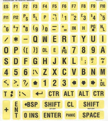 British UK English Large Print Yellow Keyboard Sticker Label Kit