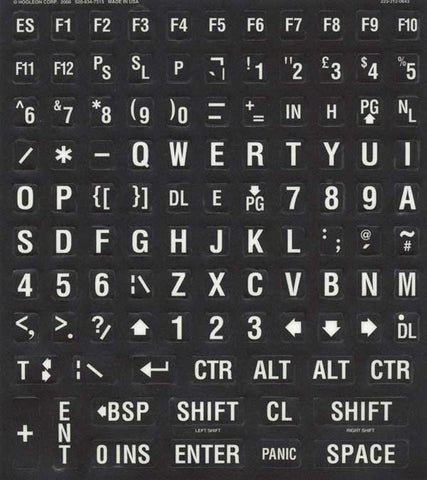 British UK English Large Print Black Keyboard Sticker Label Kit