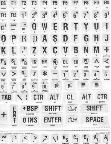 Braille & Large Print Ivory Sticker Labels With Black Print for Keyboard