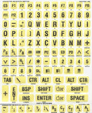 Braille & Large Print Yellow Sticker Labels With Black Print for Keyboard