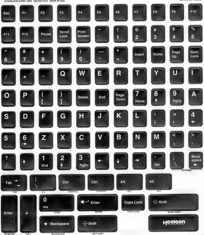 Black Keyboard Replacement Keys Sticker Overlay Kit