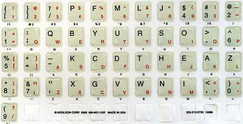 Dvorak & Qwerty Ivory Keyboard Layouts Left Handed Overlay Sticker Kit in Red/Black