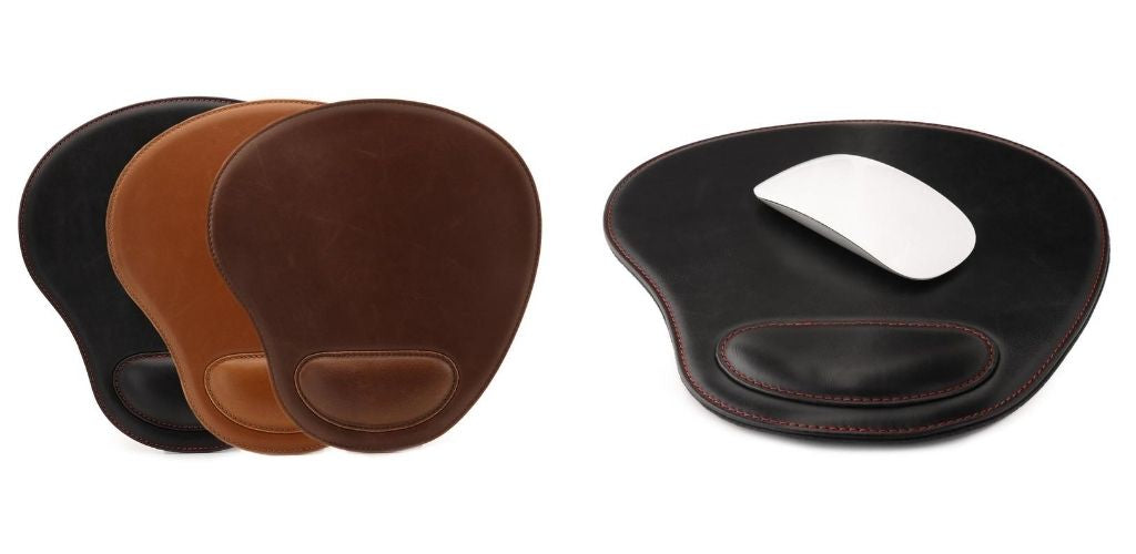 PU Leather Oval Mousepad with Padded Wrist Rest
