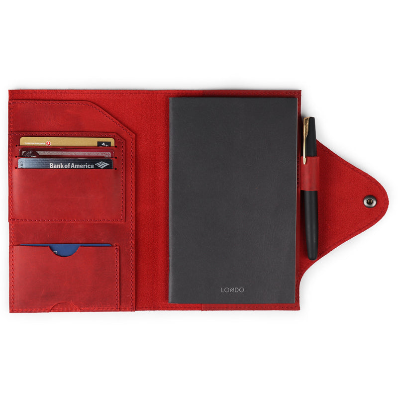 Personalized Fine Leather Portfolio with Notepad (Snap Closure & Lock)-Red-1
