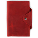 Personalized Fine Leather Portfolio with Notepad (Snap Closure & Lock)-Red-2