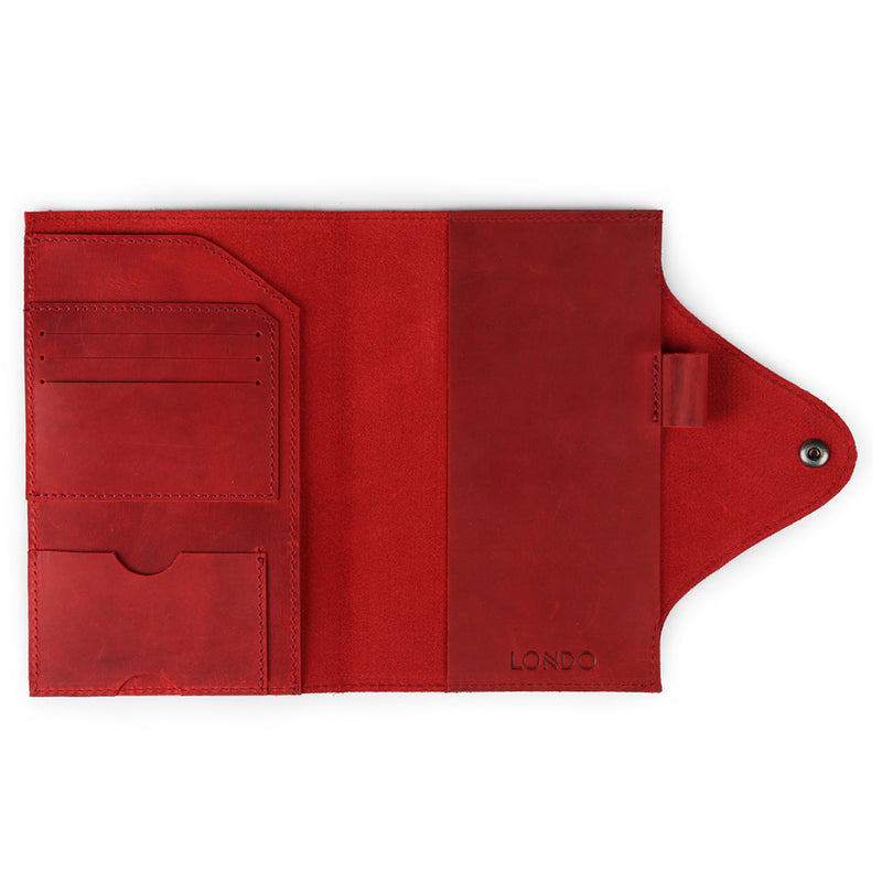 Personalized Fine Leather Portfolio with Notepad (Snap Closure & Lock)-Red-3