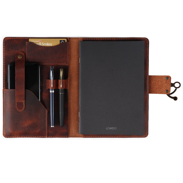Londo Personalized Fine Leather Portfolio with Notepad (Snap Closure & Lock)-Secure Lock-Brown-1