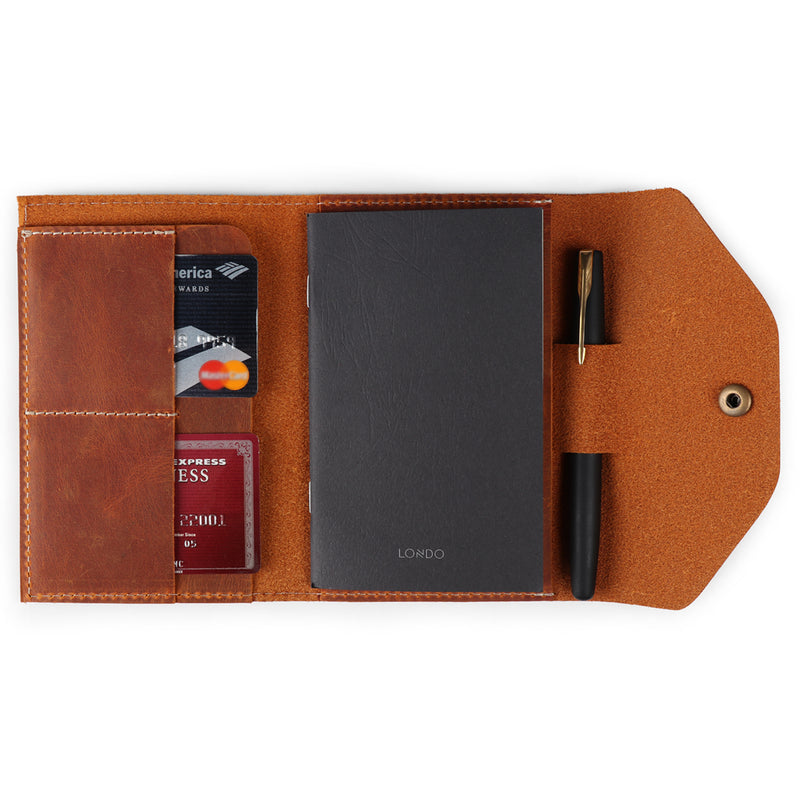 Londo Personalized Top Grain Leather Portfolio with Notepad (Snap Closure & Lock)