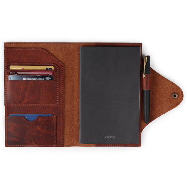 Personalized Fine Leather Portfolio with Notepad (Snap Closure & Lock)-Brown-1