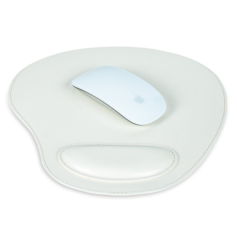 Londo Leather Oval Mouse Pad with Wrist Rest - White