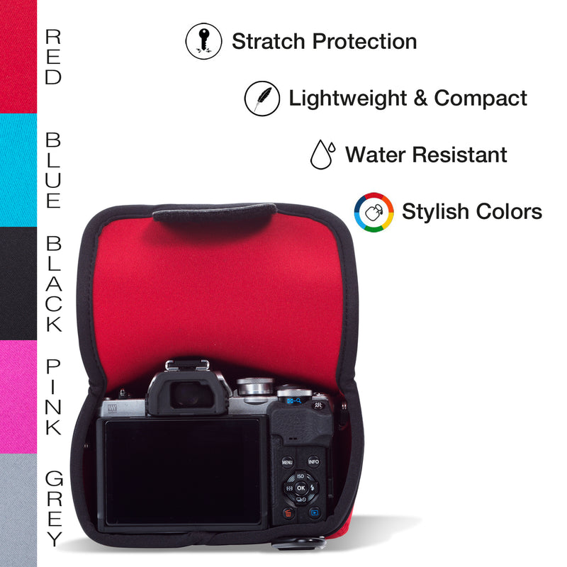 MegaGear Olympus OM-D E-M10 Mark IV Ultra Light Neoprene Camera Case, Bags, Accessories - Red-5