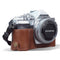 MegaGear Olympus OM-D E-M10 Mark IV Ever Ready Genuine Leather Camera Half Case - Brown-1