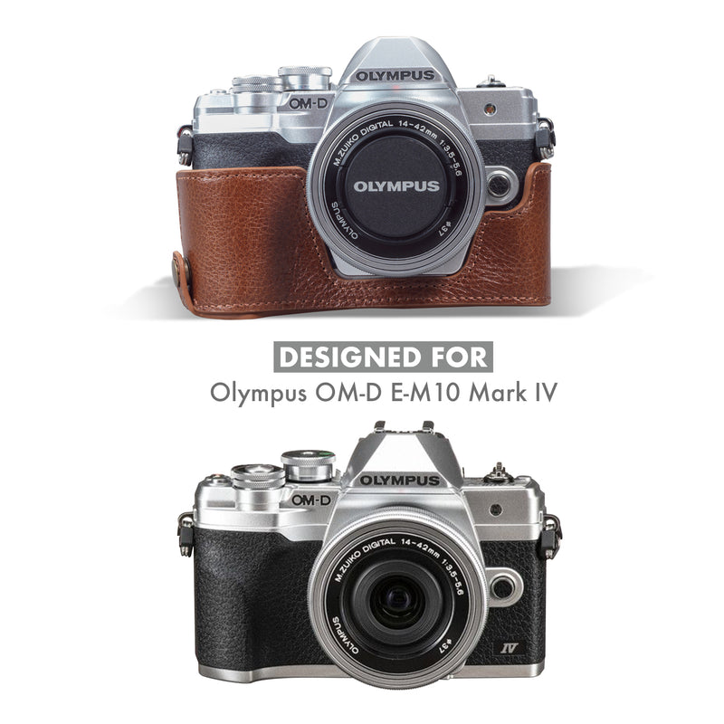 MegaGear Olympus OM-D E-M10 Mark IV Ever Ready Genuine Leather Camera Half Case - Brown-3