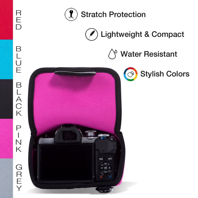 MegaGear Olympus OM-D E-M10 Mark IV Ultra Light Neoprene Camera Case, Bags, Accessories - Pink-5